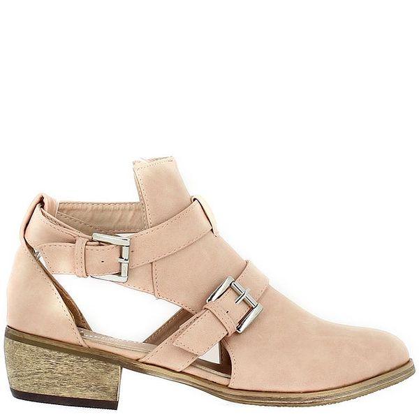 Dámské světle růžové boty s průstřihy Shoes and the City