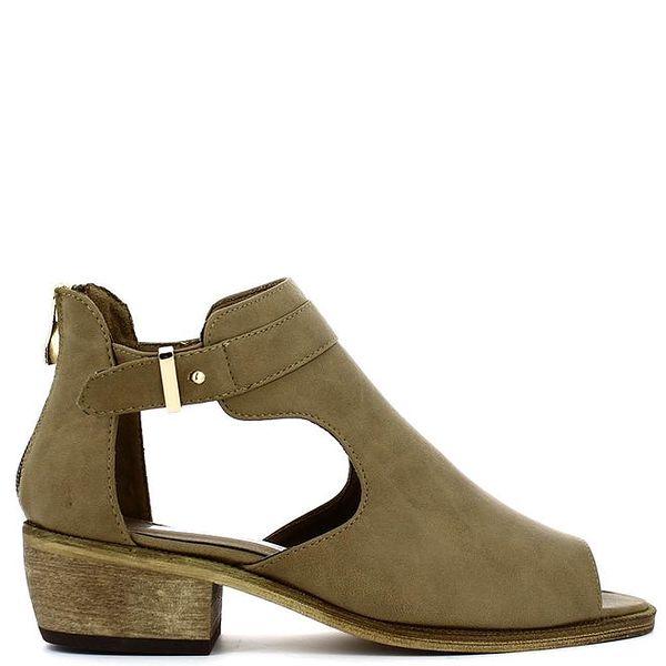 Dámské khaki boty s otevřenými boky a špičkou Shoes and the City