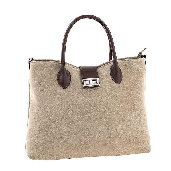 Dámská béžová kožená kabelka s hnědými úchyty Ore 10