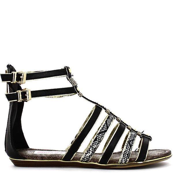Dámské černé sandálky s kovovými komponenty Shoes and the City