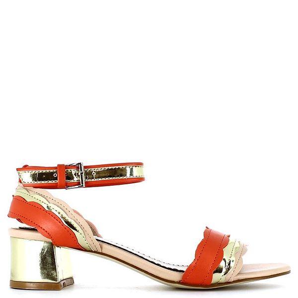 Dámské korálovo-zlaté sandálky Shoes and the City