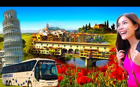 Poznávací autobusový zájezd do Toskánska, 3 noci pro 1 osobu, vč. ubytování ve **** hotelu a ochutnávky lahodného vína