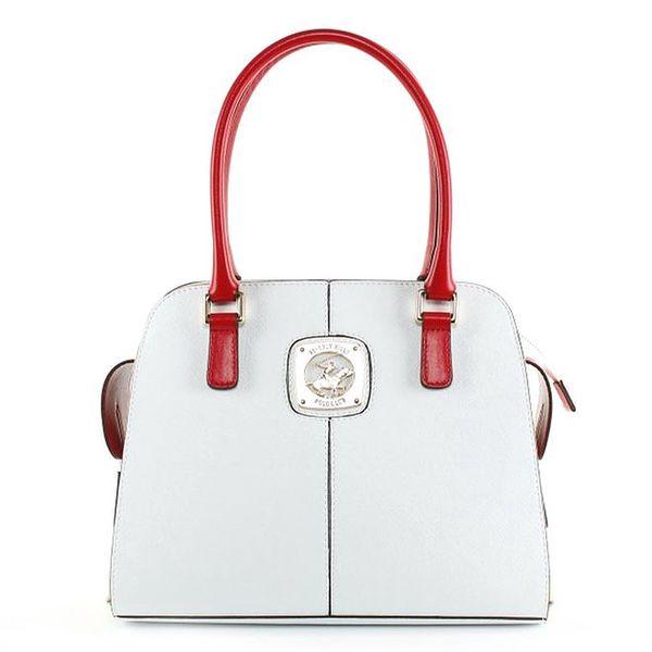 Dámská bílá kabelka s červenými uchy Beverly Hills Polo Club
