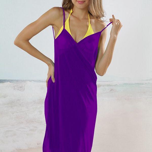 Plážové zavinovací šaty jednobarevné fialové