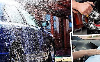 Ruční mytí vozu s voskováním + čištění interiéru, renovace světlometů nebo dezinfekce klimatizace
