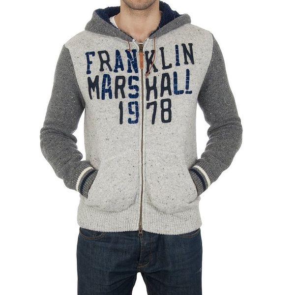 Pánská bílo-šedá svetrová mikina Franklin & Marshall