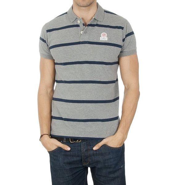 Pánské šedé pruhované polo tričko Franklin & Marshall