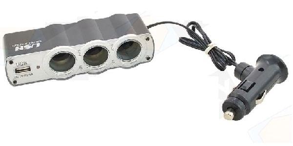 Rozbočovač zapalovače automobilu z 1 na 3 + zdířka USB 5 V. Bezkonkurenční cena !