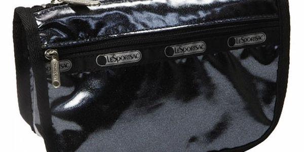 Dámská kosmetická taštička s černým lesklým povrchem LeSportSac