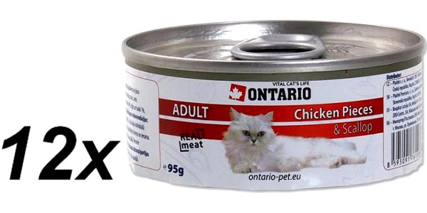 Ontario konzerva Cat Chicken Pieces+Scallop 12x95g
