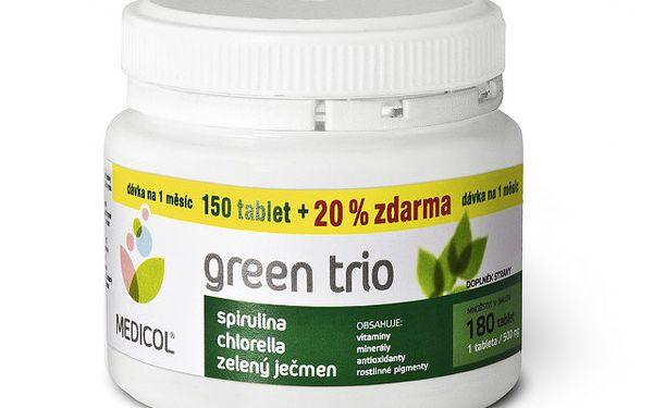 Green Trio - zelený ječmen, chlorella a spirulina 3v1 - kůra na 1 měsíc!