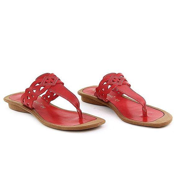 Dámské červené kožené žabky La Bellatrix