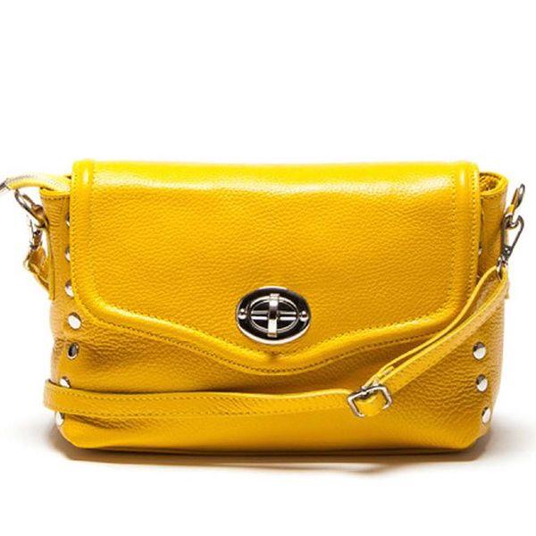 Dámská menší žlutá kabelka přes rameno se zámečkem Luisa Vannini