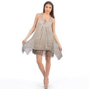Dámské hnědé šaty s krajkou Anabelle