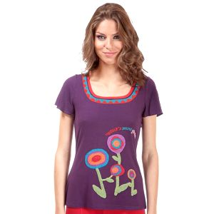 Dámské fialové tričko Rosalita McGee s motivem kytiček