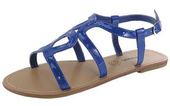 Dámské královsky modré lakované sandálky s béžovou podrážkou Beppi
