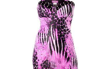 Dámské fialkové šaty Baby Phat se zvířecím vzorem a kovovými cvoky