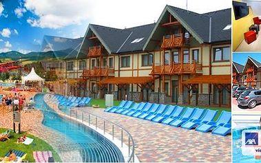 Thermal park Bešeňová Gino Paradise - luxusní apartmány na 5 nebo 7 dní pro 2 osoby ve 4* hotelu Luka - ubytování přímo v komplexu thermal parku s výhledem do celého areálu!!! SLEVY na vstupy do bazénů a děti do 6 let zdarma!