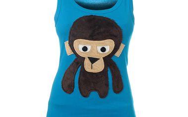 Dámské světle modré tílko Pussy Deluxe s opicí