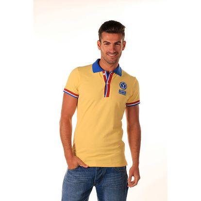 Pánské žluté polo tričko s trikolorou Celop