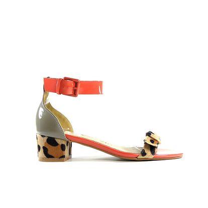 Dámské červeno-zelené lakované sandálky Shoes in the City s leopardím detailem