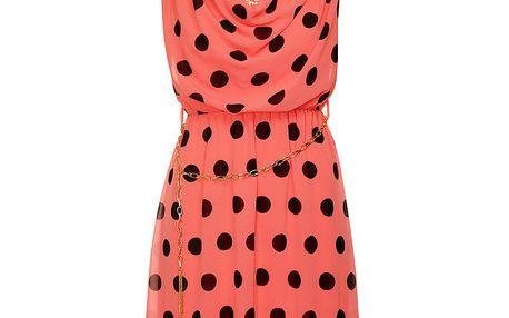 Dámské korálově růžové puntíkované šaty Skulls se zlatým řetízkem