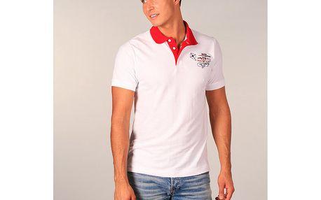 Pánské bílé polo tričko s červeným límečkem TH