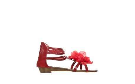 Dámské červené páskové sandálky s květinou Yook for you