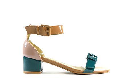 Dámské zeleno-béžové lakované sandálky Shoes in the City