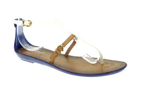 Dámské modro-bílé sandálky s béžovým páskem Beppi