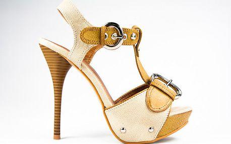Dámské hořčicovo-béžové sandálky s přezkami Y&K