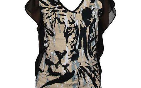 Dámský černo-béžový top Smash s tygrem