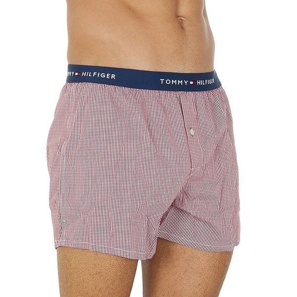 Pánské červeno-bílé kostičkované boxerky Tommy Hilfiger