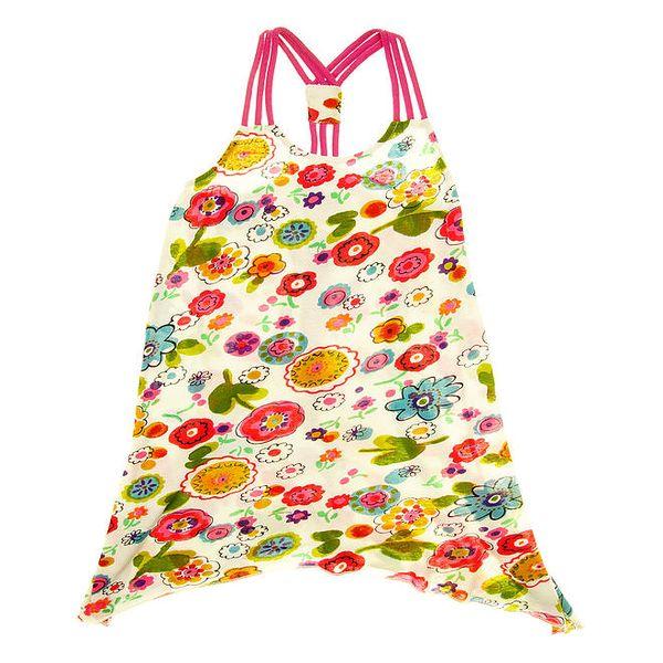 Dětské květované šaty s růžovými ramínky Peace&Love