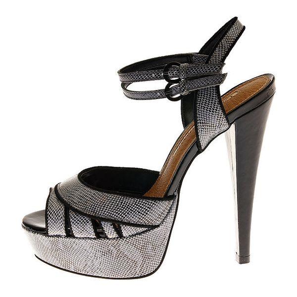Dámské stříbrné lakované sandály Buffalo s motivem hadí kůže
