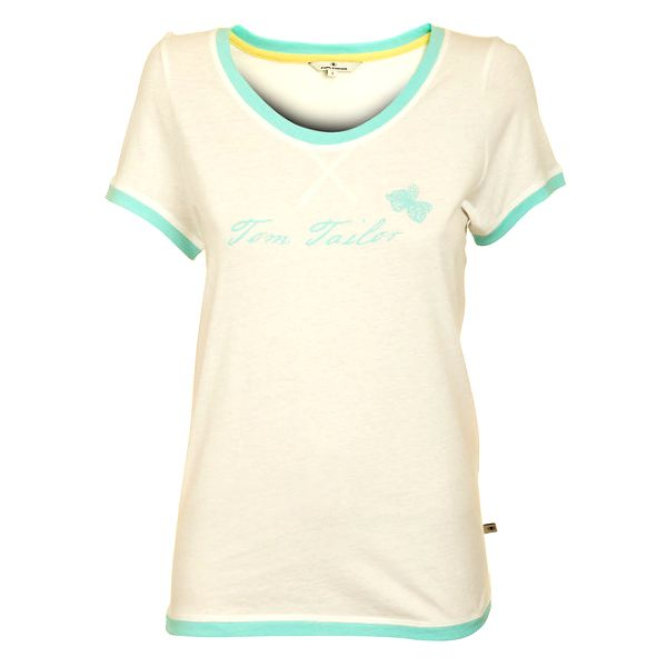 Dámské bílé tričko tom Tailor s modrým lemem
