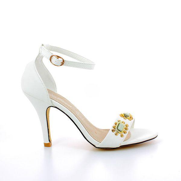 Dámské bílé sandálky s kovovými kamínky GirlHood
