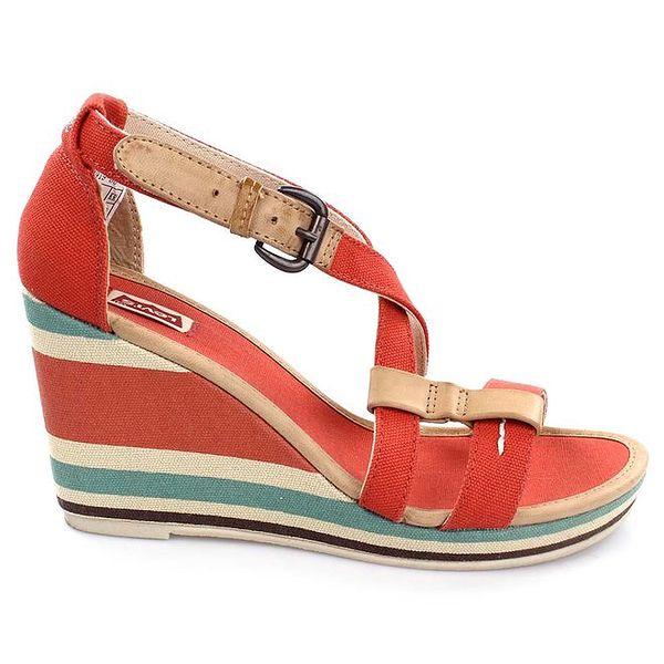 Dámske červené sandále na pruhovanom kline Levi's