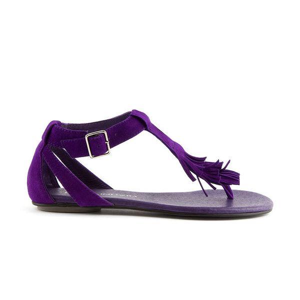 Dámské purpurové semišové sandály Lise Lindvig s indiánskými třásněmi