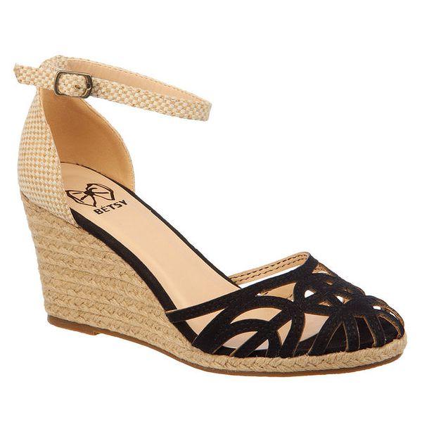 Dámské černo-béžové sandálky na klínku Elisabeth