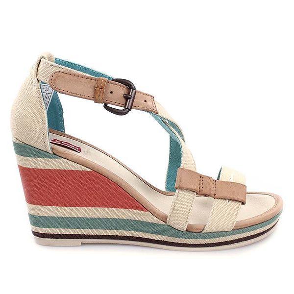 Dámske béžové sandále na pruhovanom kline Levi's