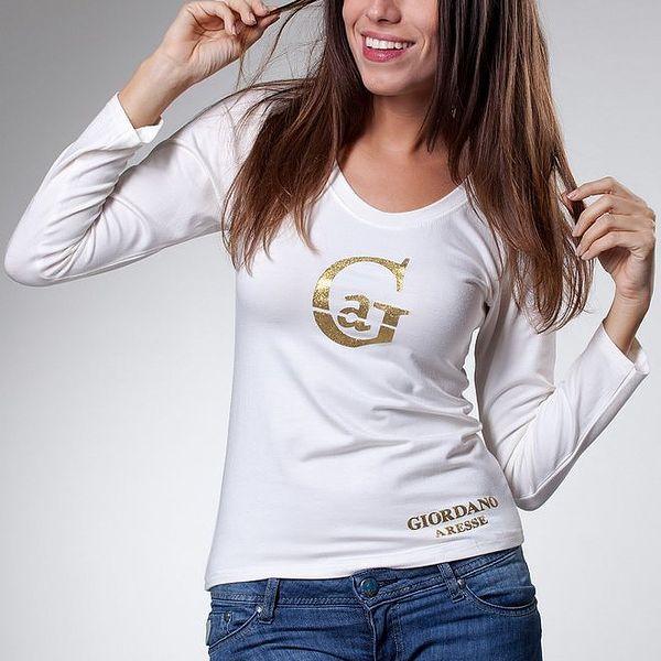 Dámské bílé tričko Caniche se zlatým potiskem
