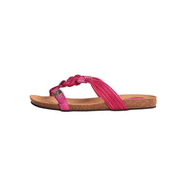 Dámské fuchsiové sandálky s copánky Dr. Scholl