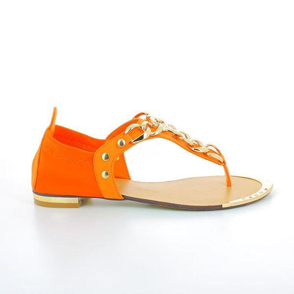 Dámské oranžové sandálky se zlatými kovovými řetízky GirlHood