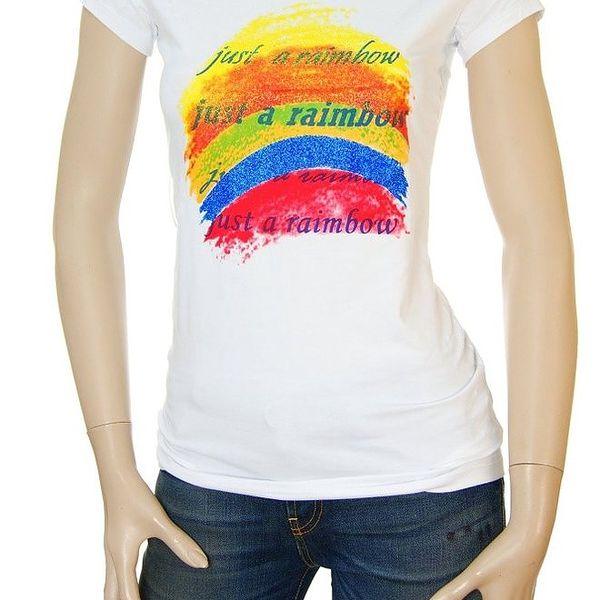 Dámské bílé tričko Matt&Desy s duhou