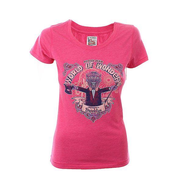 Dámské fuchsiové tričko Tommy Hilfiger s potiskem