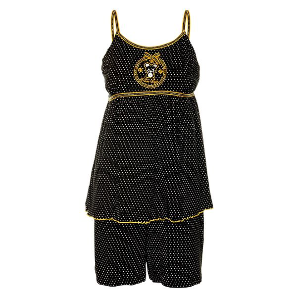 Dámské černé puntíkované pyžamo Admas - šortky a tílko