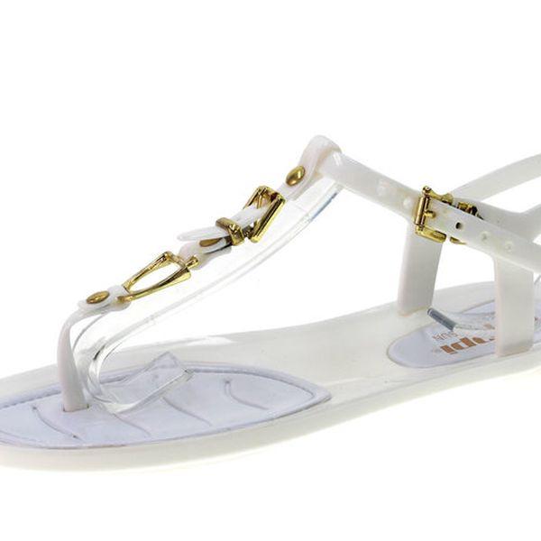 Dámské bílé sandálky se zlatými detaily Beppi