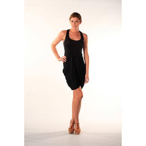 Dámské viskózové černé šaty s rafinovaně řešenou sukní Beste Bat