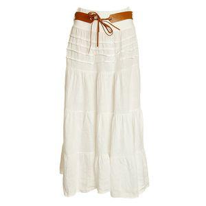 Dámská bílá lněná maxi sukně s páskem Puro Lino